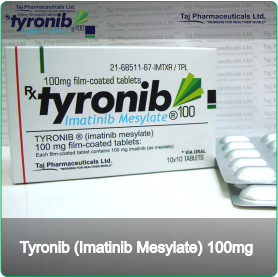 Tyronib (Imatinib Mesylate) - 100mg (100 Tablets)Abstract: Imatinib is an orally adminstered drug used to treat  a number of types of cancer, including chronic myelogenous leukemia (CML)